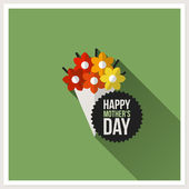 Happy Mother's Day. Flat design greeting card with colorful bouquet — 图库矢量图片
