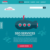 Flat design vector website template of SEO website searching optimization with cartoon submarine — Stock Vector
