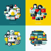 Flat vector icons set of cloud storage, social media, SEO and responsive web design — Stock Vector