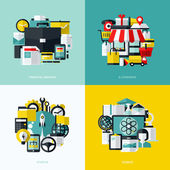 Flat vector icons set of financial services, e-commerce, startup and science — Stock Vector