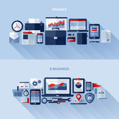 Flat vector design elements of finance and e-business — Stock Vector