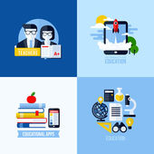 Modern flat vector concept of educational elements for websites and mobile apps. Icons set for education and online learning — Stock Vector