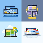 Modern flat vector concepts of responsive web design. Icons set for websites, mobile apps and printed materials — Stock Vector