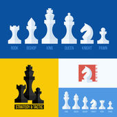 Modern flat vector set of chess icons. Chess pieces including king, queen, bishop, knight, rook, pawn — Stock Vector