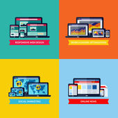 Modern flat vector concepts of web design, SEO, social media marketing, online news. Design elements set for websites, mobile apps and printed materials — Vecteur