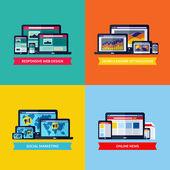 Moderne platte vector concepten van webdesign, seo, social media marketing, online nieuws. design elementen die voor websites, mobiele apps en drukwerk — Stockvector