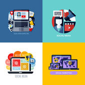 Modern flat vector concepts of social media marketing. Icons set for websites, mobile apps and printed materials — Stock Vector