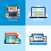 Modern flat vector concepts of responsive web design. Icons set for websites, mobile apps and printed materials — Vecteur