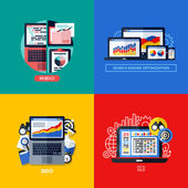 Modern flat vector concepts of search engine optimization (SEO). Icons set for websites, mobile apps and printed materials — Stok Vektör