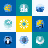 Modern flat vector concepts for websites, mobile apps and printed materials. Icons of development, strategy, mission, market research, challenge, awards, management, startup, security — Vecteur