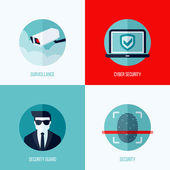 Modern flat vector concepts of security and  surveillance. Icons set for websites, mobile apps and printed materials — Vector de stock