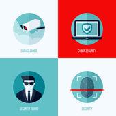 Moderní ploché vektorové pojmy bezpečnost a ostrahu. ikony nastavit pro webové stránky, mobilní aplikace a tiskovin — Stock vektor