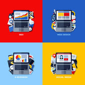 Modern flat vector concepts of SEO, web design, e-business, social media. Design elements set for websites, mobile apps and printed materials — Stock Vector