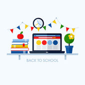 Back to school flat vector illustration with desk and school supplies. Creative design elements for websites, mobile apps and printed materials — Stock Vector