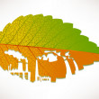 Pollution illustrated on leaf by engraving - Stock Vector