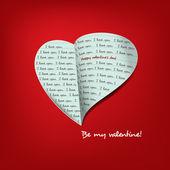 Messaggio del cuore per San Valentino carta — Vettoriale Stock