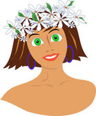 The girl with a wreath from flowers on the head — Stock Vector