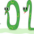 Four crazy snakes designed as symbols of 2013 New Year — Stock Vector