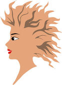 The head of the girl with a flying hair — Stock Vector