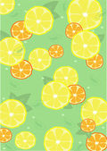 Background from lemons and oranges with leaves — Stock Vector