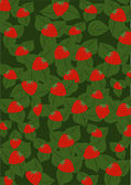 Background from red strawberry and green leaves — Stock Vector