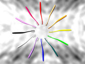 Multicolor Toothbrush Circle on Marble — Stock Photo