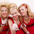 Three retro girls. — Stock Photo