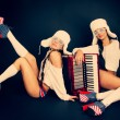 Girls with accordion. — Stock Photo