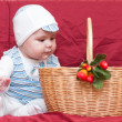Boy looking into the basket — Stock Photo