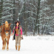 Stock Photo: Womwith Horse Snow