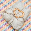 Stock Photo: One wooden heart and present