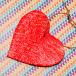 One wooden red heart — Foto de Stock