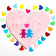 Stock Photo: Multicolored paper hearths with a wooden pink heart and paper boy and girl