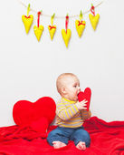 Little sweet boy with heart — Stock Photo