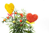 Flower pot and hearts — Stock Photo