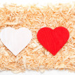 Hearts in sawdust — Stock Photo #19255037
