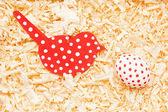 Wood bird with egg — Stock Photo