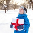 Boy with Christmas present - Stock Photo