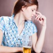 Woman with  beer — Stock Photo