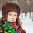 Stock Photo: Beautiful girl in fur hat