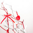 Red heart - Valentine with ribbon and branch — Stok fotoğraf