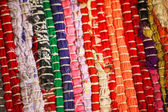 Colorful knitted cloth reuse Close Up of crochet rag rug — Stock Photo