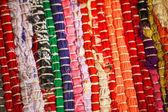 Kleurrijke gebreide doek hergebruik close-up van haak lap deken — Stockfoto