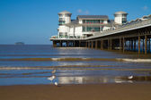 Grand Pier Weston-super-Mare with Steepholme Island in background — Stock Photo