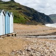 Beach huts on Charmouth beach in Dorset — Stock Photo