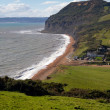 Stock Photo: Seatown beach and South West coastal path Dorset