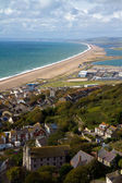 View over Portland Chesil beach and Weymouth Dorset — Stock Photo