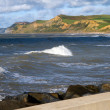 Stock Photo: Dorset coastline from West Bay harbour wall