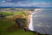 Dorset coast view towards West Bay and Chesil beach — Stock Photo