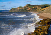 West Bay beach and Dorset coastline — Stock Photo